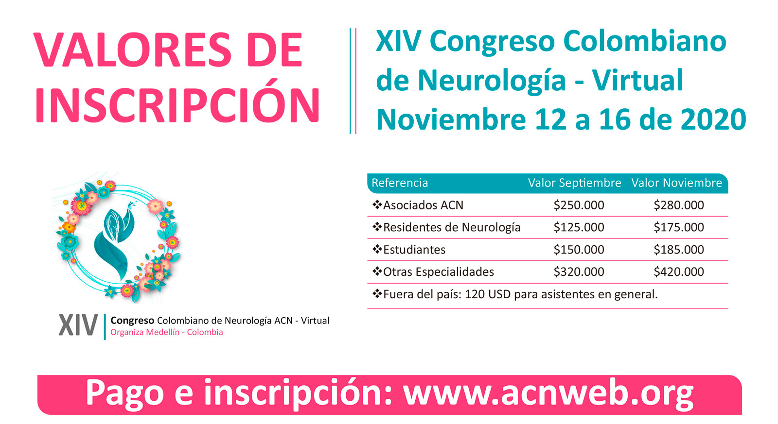 INSCRIPCIONES XIV CONGRESO COLOMBIANO DE NEUROLOGÍA 2020 VIRTUAL